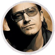 Bono U2 Artwork 2 Round Beach Towel by Sheraz A
