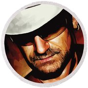 Bono U2 Artwork 3 Round Beach Towel by Sheraz A