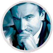 Bono U2 Artwork 4 Round Beach Towel by Sheraz A