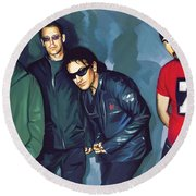 Bono U2 Artwork 5 Round Beach Towel by Sheraz A
