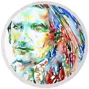 Bono Watercolor Portrait.2 Round Beach Towel by Fabrizio Cassetta