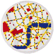 Boogie Woogie London Round Beach Towel by Chungkong Art