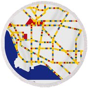 Boogie Woogie Los Angeles Round Beach Towel by Chungkong Art