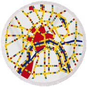 Boogie Woogie Moscow Round Beach Towel by Chungkong Art