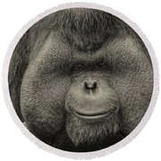 Bornean Orangutan II Round Beach Towel by Lourry Legarde