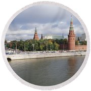 Bridge Across A River, Bolshoy Kamenny Round Beach Towel by Panoramic Images