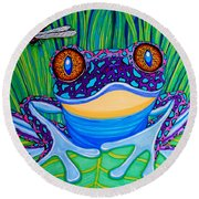 Bright Eyed Frog Round Beach Towel by Nick Gustafson