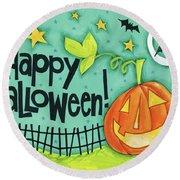 Bright Halloween I Round Beach Towel by Anne Tavoletti