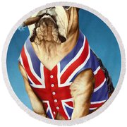 British Bulldog Round Beach Towel by Andrew Farley