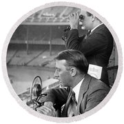 Broadcasting A Football Game Round Beach Towel by Underwood Archives