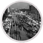 Bronx Fordham Road At Night Round Beach Towel by Underwood Archives