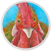 Brown Rooster On Blue Round Beach Towel by Jan Matson