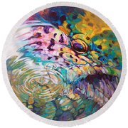 Brown Trout And Mayfly - Abstract Fly Fishing Art  Round Beach Towel by Savlen Art