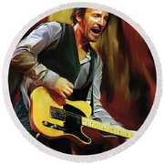 Bruce Springsteen Artwork Round Beach Towel by Sheraz A
