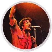 Bruce Springsteen Painting Round Beach Towel by Paul Meijering