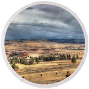 Round Beach Towel featuring the photograph Buffalo Before The Storm by Bill Gabbert