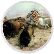 Buffalo Hunt Round Beach Towel by Charles Marion Russell