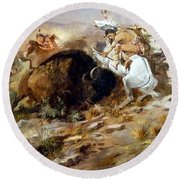 Buffalo Hunt Round Beach Towel by Charles Russell