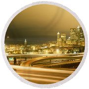 Buildings Lit Up At Night, Seattle Round Beach Towel by Panoramic Images