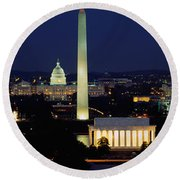 Buildings Lit Up At Night, Washington Round Beach Towel by Panoramic Images