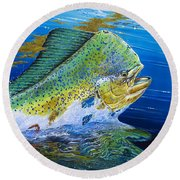 Bull Reflection Off0032 Round Beach Towel by Carey Chen