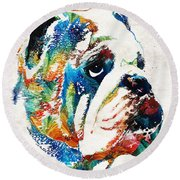 Bulldog Pop Art - How Bout A Kiss - By Sharon Cummings Round Beach Towel by Sharon Cummings
