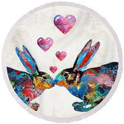 Bunny Rabbit Art - Hopped Up On Love - By Sharon Cummings Round Beach Towel by Sharon Cummings