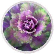Cabbage Flower Round Beach Towel by Jessica Jenney