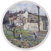 Cabbage Patch Near The Village Round Beach Towel by Camille Pissarro
