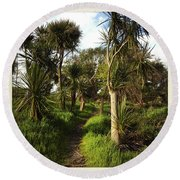 Cabbage Trees Round Beach Towel by Les Cunliffe