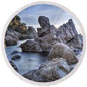 Cala Dels Frares, Lloret De Mar Catalonia Round Beach Towel by Marc Garrido