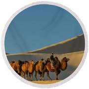 Camel Caravan In A Desert, Gobi Desert Round Beach Towel by Panoramic Images