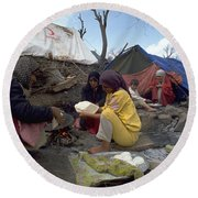 Round Beach Towel featuring the photograph Camping In Iraq by Travel Pics