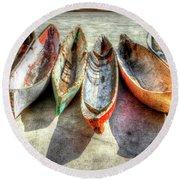 Canoes Round Beach Towel by Debra and Dave Vanderlaan