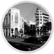 Car Moving On The Street, Rodeo Drive Round Beach Towel by Panoramic Images
