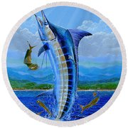 Caribbean Blue Off0041 Round Beach Towel by Carey Chen