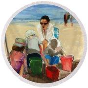 Carolyn Round Beach Towel by Daniel Clarke