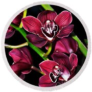 Cascading Red Orchids Round Beach Towel by Kaye Menner
