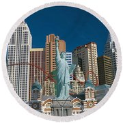 Casino Las Vegas Nv Round Beach Towel by Panoramic Images