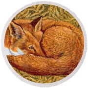 Cat Napping Round Beach Towel by Ditz