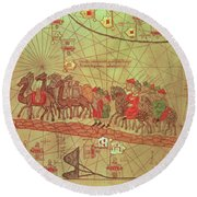 Catalan Atlas, Detail Showing The Family Of Marco Polo 1254-1324 Travelling By Camel Caravan, 1375 Round Beach Towel by Spanish School