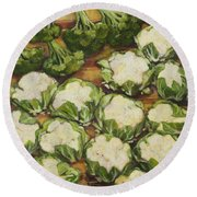 Cauliflower March Round Beach Towel by Jen Norton
