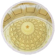 Ceiling Of The Dome Of The Texas State Round Beach Towel by Panoramic Images