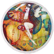 Centaur In Love Round Beach Towel by Albena Vatcheva
