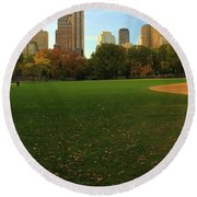 Central Park In Autumn Round Beach Towel by Dan Sproul