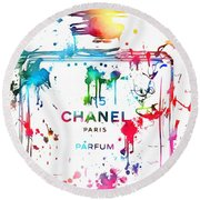 Chanel Number Five Paint Splatter Round Beach Towel by Dan Sproul