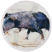 Charging Bull Round Beach Towel by Mark Adlington