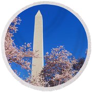 Cherry Blossoms Washington Monument Round Beach Towel by Panoramic Images