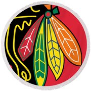 Chicago Blackhawks Round Beach Towel by Tony Rubino