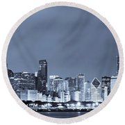 Chicago In Blue Round Beach Towel by Sebastian Musial